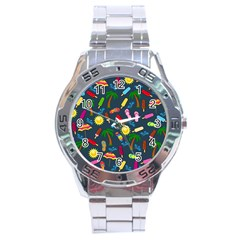 Beach Pattern Stainless Steel Analogue Watch