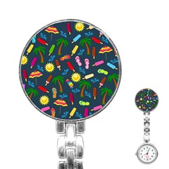 Beach Pattern Stainless Steel Nurses Watch by Valentinaart