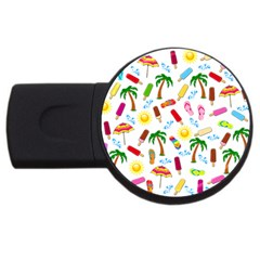 Beach Pattern Usb Flash Drive Round (4 Gb) by Valentinaart