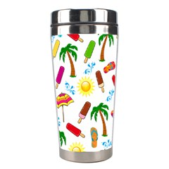 Beach Pattern Stainless Steel Travel Tumblers by Valentinaart