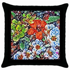 Hot Flowers 02 Throw Pillow Case (black) by MoreColorsinLife