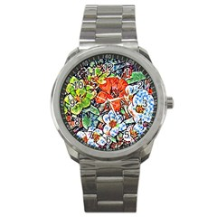 Hot Flowers 02 Sport Metal Watch by MoreColorsinLife