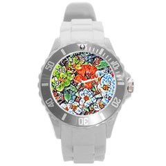 Hot Flowers 02 Round Plastic Sport Watch (l) by MoreColorsinLife