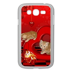 Cute, Playing Kitten With Hearts Samsung Galaxy Grand Duos I9082 Case (white) by FantasyWorld7