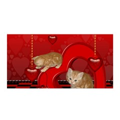 Cute, Playing Kitten With Hearts Satin Wrap by FantasyWorld7