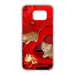 Cute, Playing Kitten With Hearts Samsung Galaxy S7 Edge White Seamless Case by FantasyWorld7