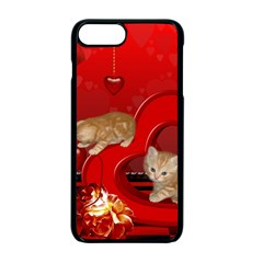 Cute, Playing Kitten With Hearts Apple Iphone 7 Plus Seamless Case (black) by FantasyWorld7