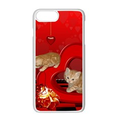 Cute, Playing Kitten With Hearts Apple Iphone 7 Plus White Seamless Case by FantasyWorld7
