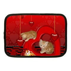 Cute, Playing Kitten With Hearts Netbook Case (medium)  by FantasyWorld7