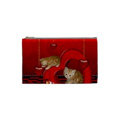 Cute, Playing Kitten With Hearts Cosmetic Bag (small)  by FantasyWorld7