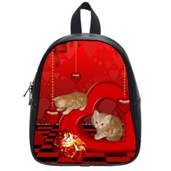 Cute, Playing Kitten With Hearts School Bags (small)  by FantasyWorld7