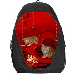 Cute, Playing Kitten With Hearts Backpack Bag by FantasyWorld7