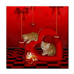 Cute, Playing Kitten With Hearts Tile Coasters by FantasyWorld7