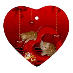 Cute, Playing Kitten With Hearts Ornament (heart) by FantasyWorld7