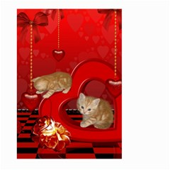 Cute, Playing Kitten With Hearts Large Garden Flag (two Sides) by FantasyWorld7