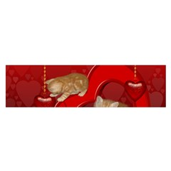 Cute, Playing Kitten With Hearts Satin Scarf (oblong) by FantasyWorld7