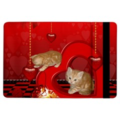 Cute, Playing Kitten With Hearts Ipad Air Flip by FantasyWorld7