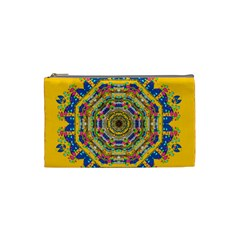 Happy Fantasy Earth Mandala Cosmetic Bag (small)  by pepitasart