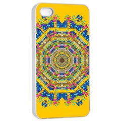 Happy Fantasy Earth Mandala Apple Iphone 4/4s Seamless Case (white) by pepitasart
