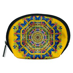 Happy Fantasy Earth Mandala Accessory Pouches (medium)  by pepitasart