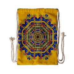 Happy Fantasy Earth Mandala Drawstring Bag (small) by pepitasart