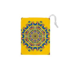 Happy Fantasy Earth Mandala Drawstring Pouches (xs)  by pepitasart