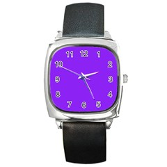 Neon Purple Solid Color  Square Metal Watch by SimplyColor