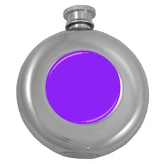 Neon Purple Solid Color  Round Hip Flask (5 Oz) by SimplyColor