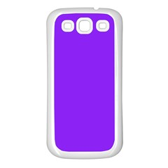 Neon Purple Solid Color  Samsung Galaxy S3 Back Case (white) by SimplyColor