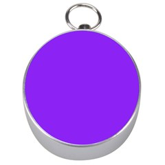 Neon Purple Solid Color  Silver Compasses by SimplyColor