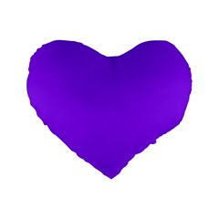 Neon Purple Solid Color  Standard 16  Premium Flano Heart Shape Cushions by SimplyColor