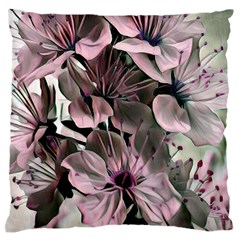 Wonderful Silky Flowers A Large Flano Cushion Case (one Side) by MoreColorsinLife