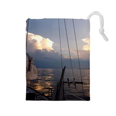 Sailing Into The Storm Drawstring Pouches (large)  by oddzodd