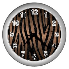 Skin4 Black Marble & Bronze Metal (r) Wall Clock (silver) by trendistuff