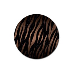 Skin3 Black Marble & Bronze Metal Rubber Coaster (round) by trendistuff