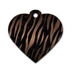 Skin3 Black Marble & Bronze Metal Dog Tag Heart (two Sides) by trendistuff