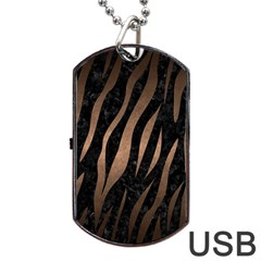 Skin3 Black Marble & Bronze Metal Dog Tag Usb Flash (one Side) by trendistuff