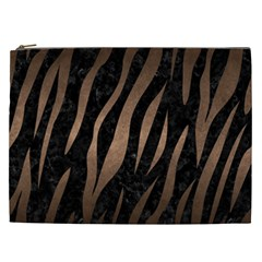 Skin3 Black Marble & Bronze Metal Cosmetic Bag (xxl) by trendistuff