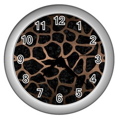 Skin1 Black Marble & Bronze Metal (r) Wall Clock (silver) by trendistuff