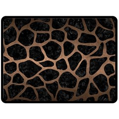 Skin1 Black Marble & Bronze Metal (r) Double Sided Fleece Blanket (large) by trendistuff