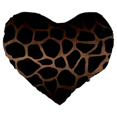 Skin1 Black Marble & Bronze Metal (r) Large 19  Premium Flano Heart Shape Cushion by trendistuff