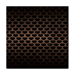 Scales3 Black Marble & Bronze Metal Tile Coaster by trendistuff