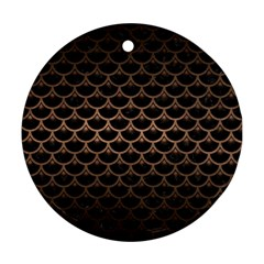 Scales3 Black Marble & Bronze Metal Ornament (round) by trendistuff