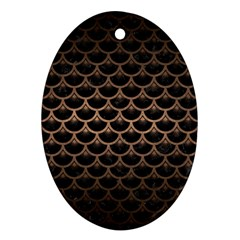 Scales3 Black Marble & Bronze Metal Ornament (oval) by trendistuff