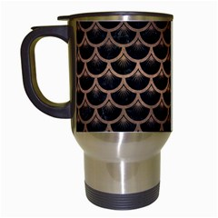 Scales3 Black Marble & Bronze Metal Travel Mug (white) by trendistuff