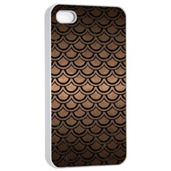 Scales2 Black Marble & Bronze Metal (r) Apple Iphone 4/4s Seamless Case (white) by trendistuff