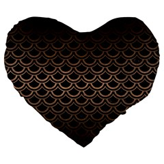 Scales2 Black Marble & Bronze Metal Large 19  Premium Flano Heart Shape Cushion by trendistuff