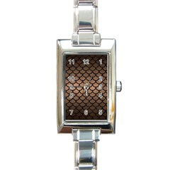Scales1 Black Marble & Bronze Metal (r) Rectangle Italian Charm Watch by trendistuff