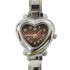 Scales1 Black Marble & Bronze Metal (r) Heart Italian Charm Watch by trendistuff