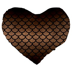 Scales1 Black Marble & Bronze Metal (r) Large 19  Premium Flano Heart Shape Cushion by trendistuff